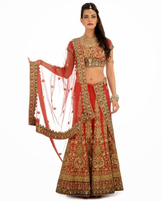 Indian Designer Wedding-Bridal Wear Brides Beautiful New Fashion Lehangas-Choli Dress-10