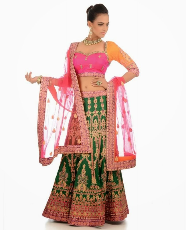 Indian Designer Wedding-Bridal Wear Brides Beautiful New Fashion Lehangas-Choli Dress-14