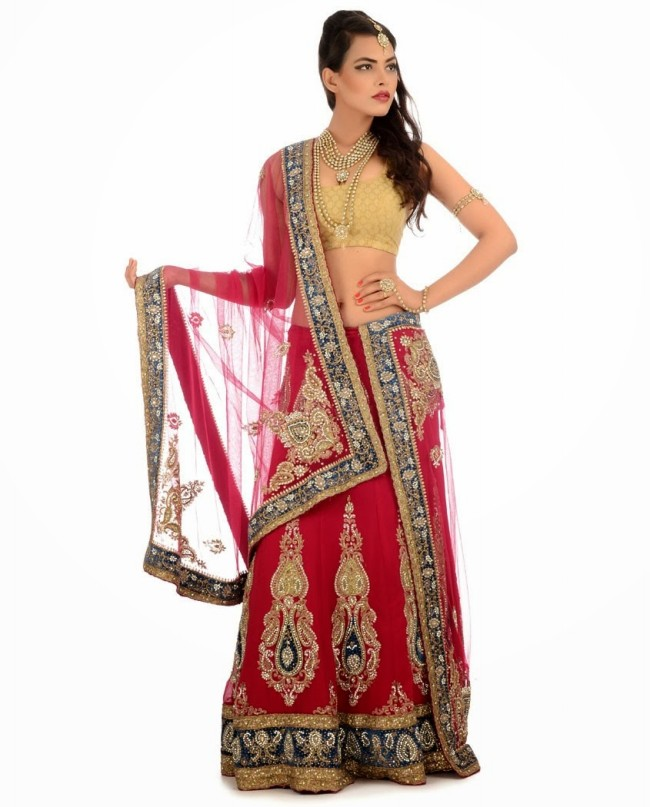 Indian Designer Wedding-Bridal Wear Brides Beautiful New Fashion Lehangas-Choli Dress-8