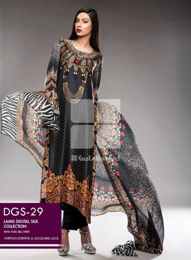 Gul Ahmed New Fashion Lamis Digital Winter Silk Dress For Girls-Women-1