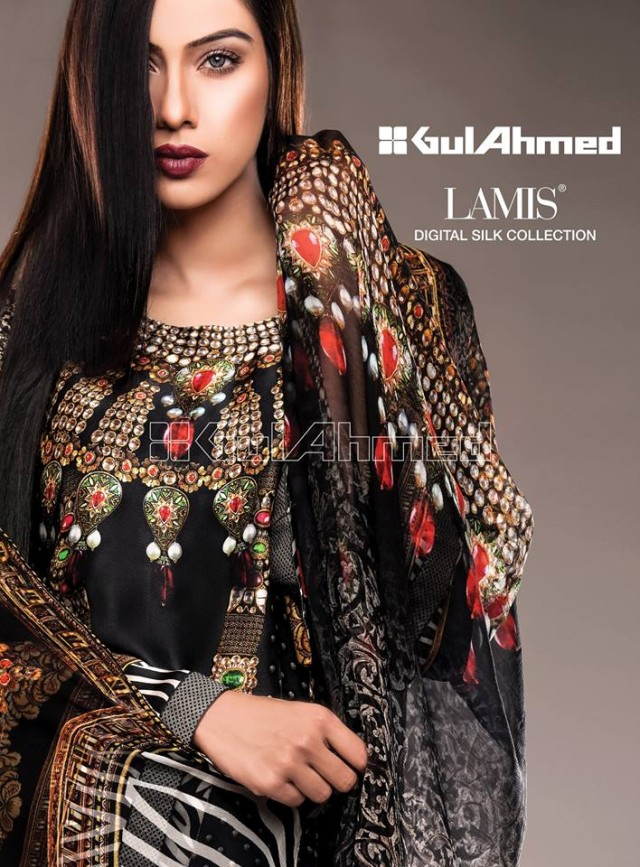 Gul Ahmed New Fashion Lamis Digital Winter Silk Dress For Girls-Women-2