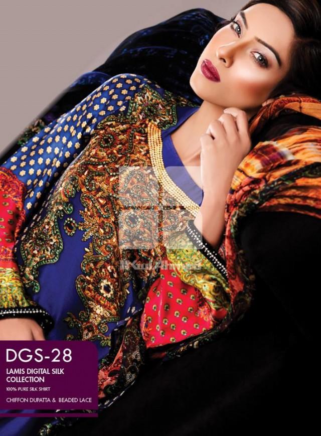 Gul Ahmed New Fashion Lamis Digital Winter Silk Dress For Girls-Women-3