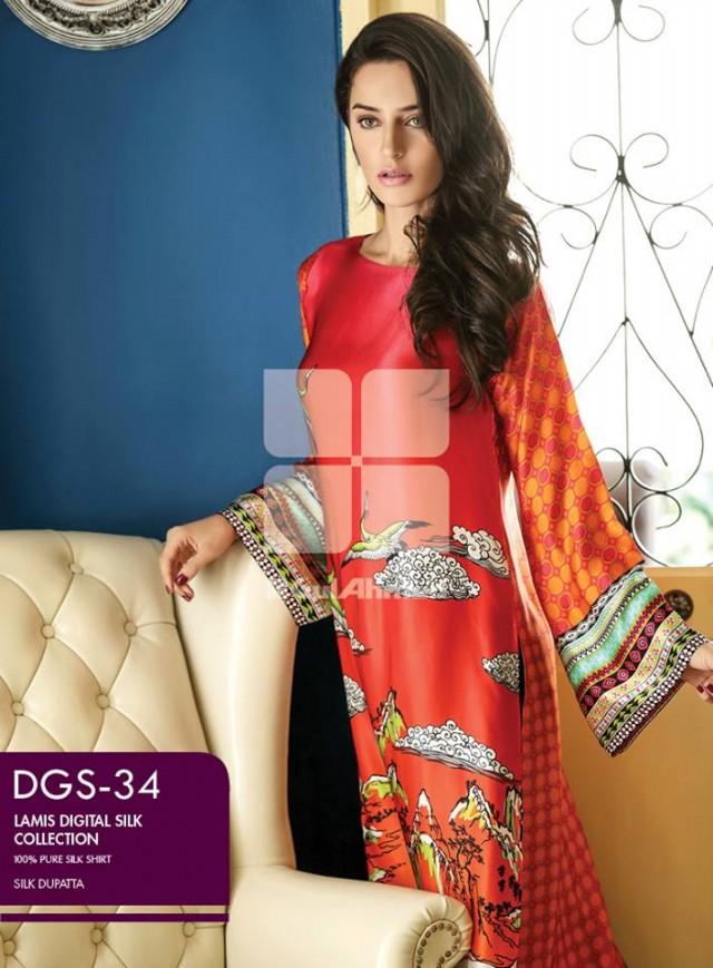Gul Ahmed New Fashion Lamis Digital Winter Silk Dress For Girls-Women-4