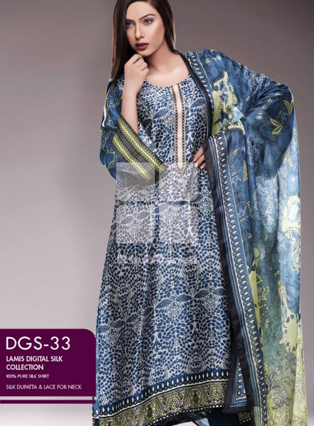 Gul Ahmed New Fashion Lamis Digital Winter Silk Dress For Girls-Women-5