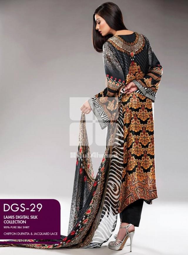 Gul Ahmed New Fashion Lamis Digital Winter Silk Dress For Girls-Women-6