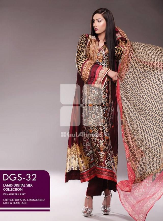 Gul Ahmed New Fashion Lamis Digital Winter Silk Dress For Girls-Women-7