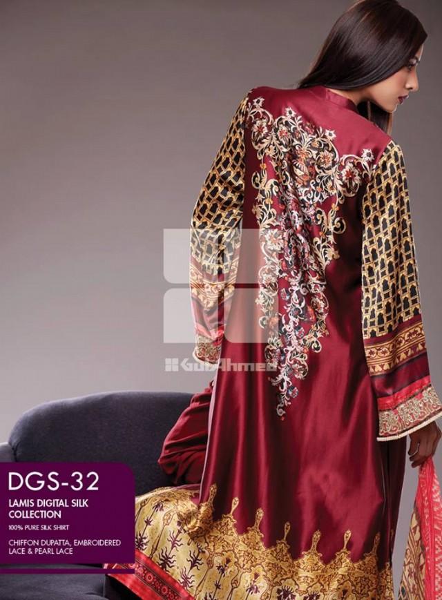 Gul Ahmed New Fashion Lamis Digital Winter Silk Dress For Girls-Women-8