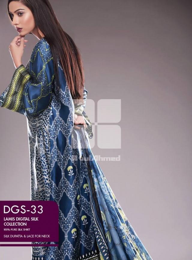 Gul Ahmed New Fashion Lamis Digital Winter Silk Dress For Girls-Women-9