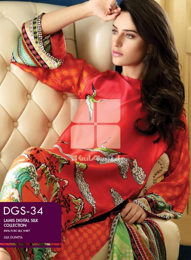 Gul Ahmed New Fashion Lamis Digital Winter Silk Dress For Girls-Women-