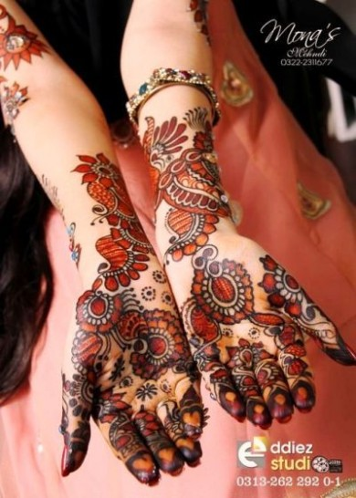 Bridal-Wedding Amazing Latest Henna Mehndi Designs for Girls-Dulhan Hands-14