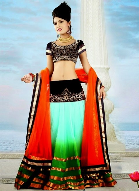 Cbazar Latest Wedding-Bridal Party Wear Lehanga Choli For Girls-2