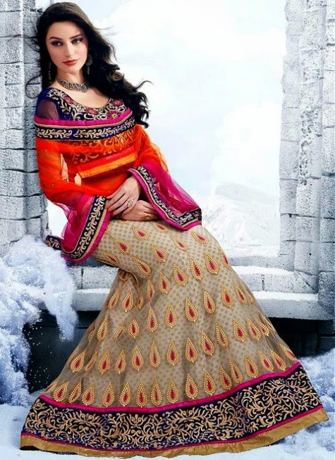 Cbazar Latest Wedding-Bridal Party Wear Lehanga Choli For Girls-4