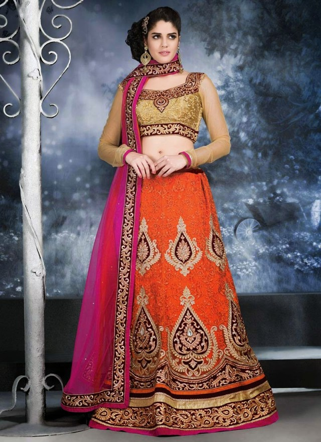 Embroidered Engagement-Wedding-Bridal-A Line Fancy Lehenga-Choli Dress for Brides-Dulhan-1