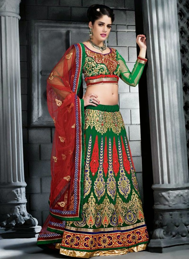 Embroidered Engagement-Wedding-Bridal-A Line Fancy Lehenga-Choli Dress for Brides-Dulhan-10