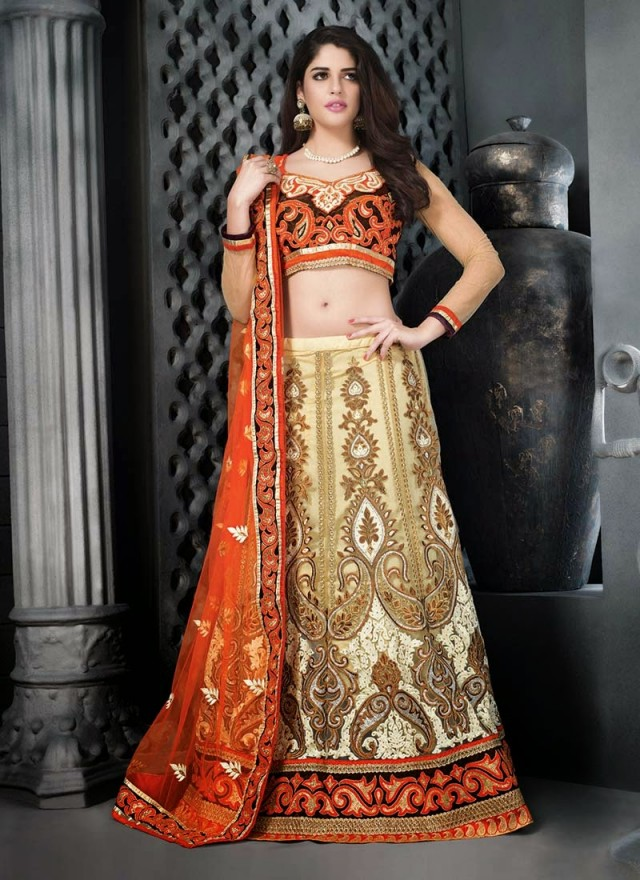 Embroidered Engagement-Wedding-Bridal-A Line Fancy Lehenga-Choli Dress for Brides-Dulhan-11