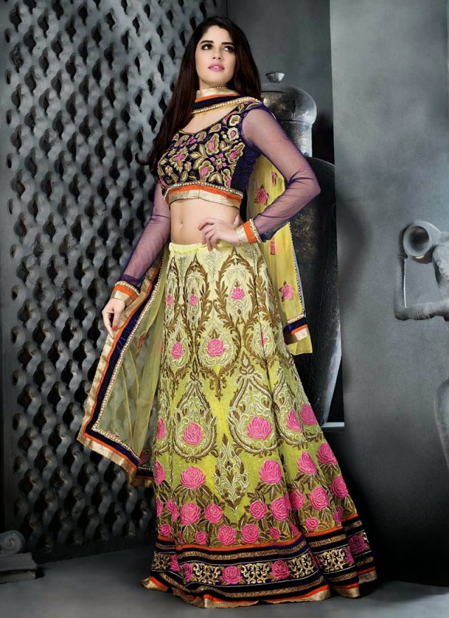 Embroidered Engagement-Wedding-Bridal-A Line Fancy Lehenga-Choli Dress for Brides-Dulhan-12