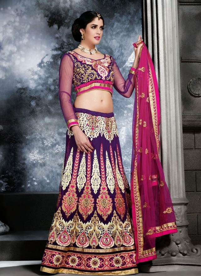 Embroidered Engagement-Wedding-Bridal-A Line Fancy Lehenga-Choli Dress for Brides-Dulhan-3