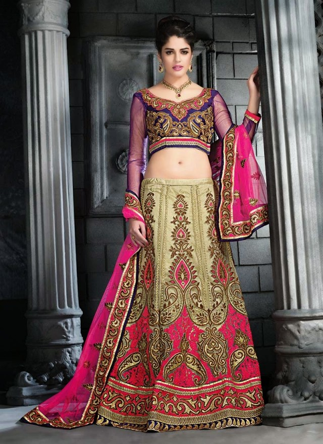 Embroidered Engagement-Wedding-Bridal-A Line Fancy Lehenga-Choli Dress for Brides-Dulhan-4