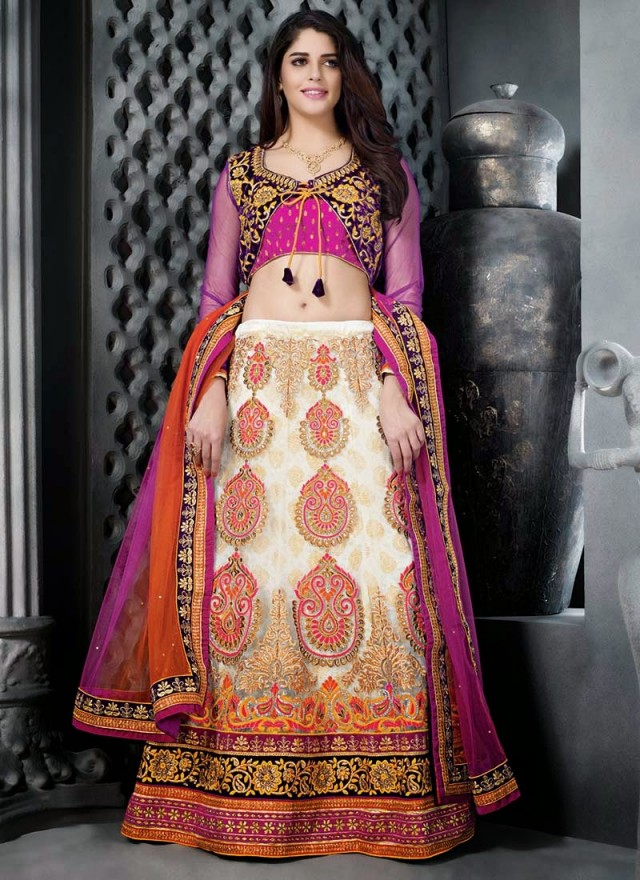 Embroidered Engagement-Wedding-Bridal-A Line Fancy Lehenga-Choli Dress for Brides-Dulhan-5