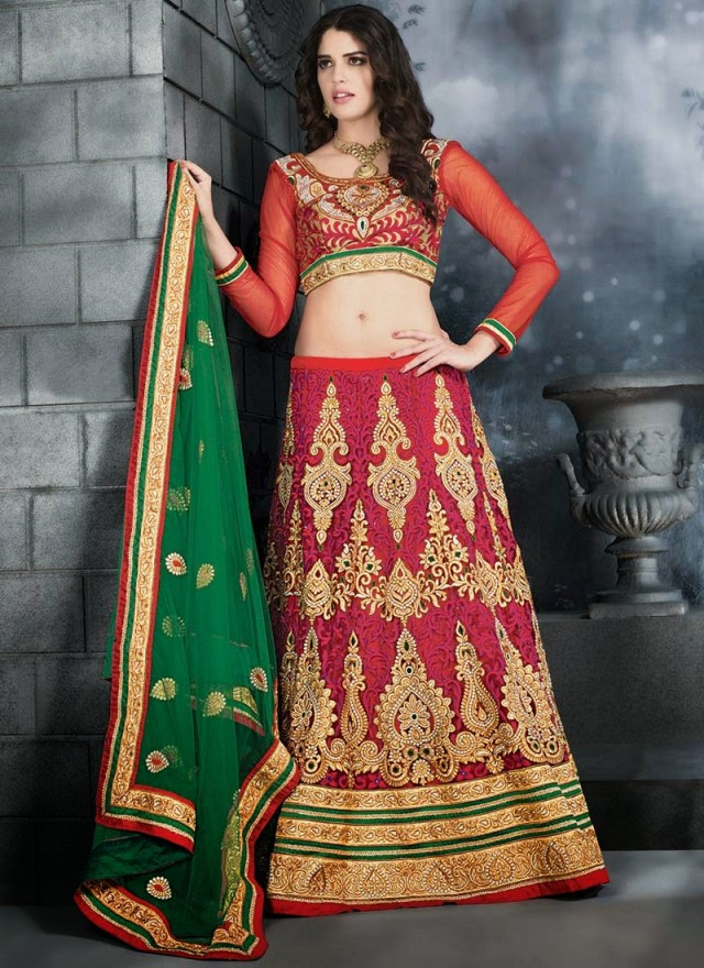 Embroidered Engagement-Wedding-Bridal-A Line Fancy Lehenga-Choli Dress for Brides-Dulhan-7