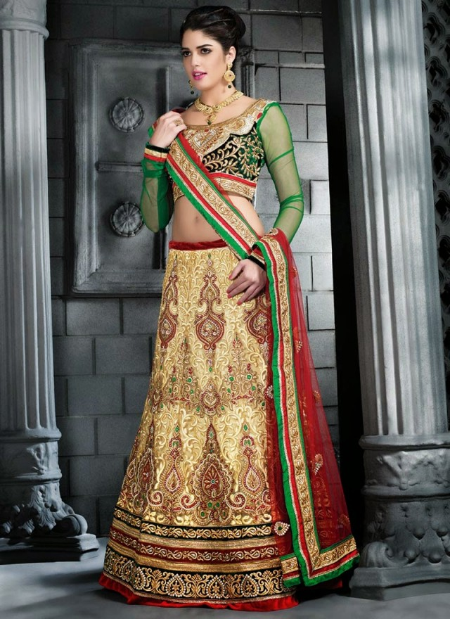 Embroidered Engagement-Wedding-Bridal-A Line Fancy Lehenga-Choli Dress for Brides-Dulhan-8