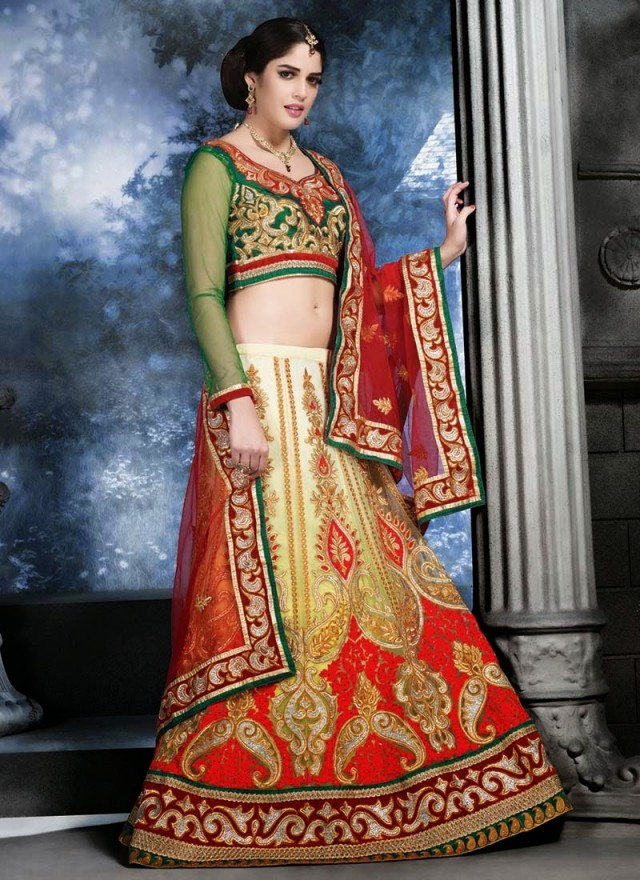 Embroidered Engagement-Wedding-Bridal-A Line Fancy Lehenga-Choli Dress for Brides-Dulhan-