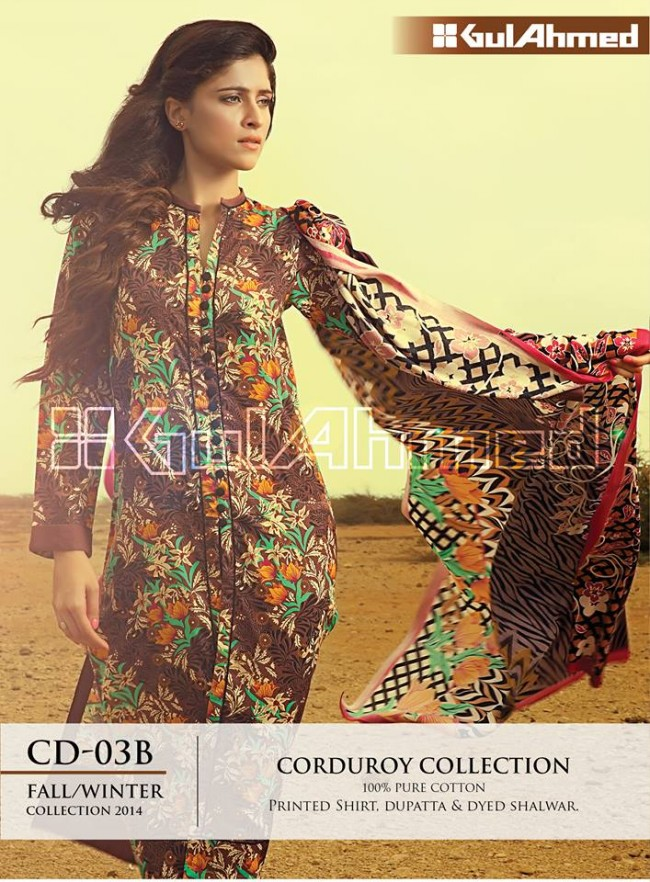 Gul Ahmed Corduory New Latest Fashion Winter-Autumn Cotton Girls Wear Dress-1