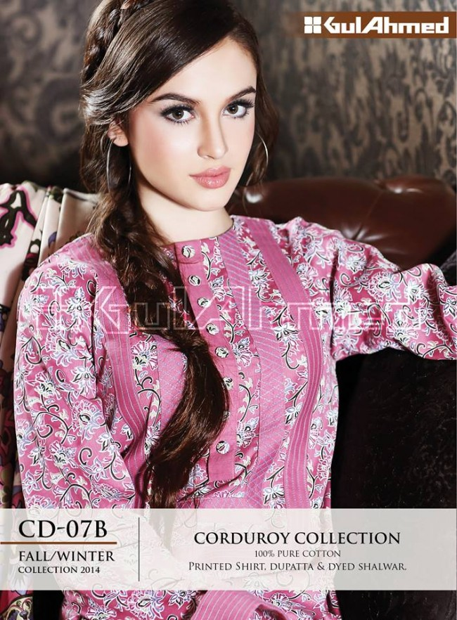 Gul Ahmed Corduory New Latest Fashion Winter-Autumn Cotton Girls Wear Dress-2