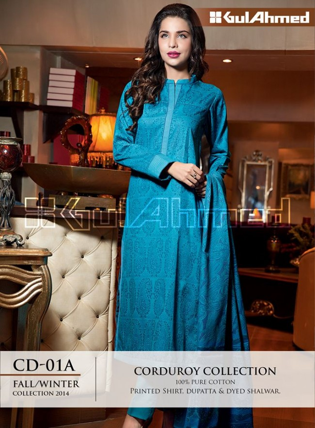 Gul Ahmed Corduory New Latest Fashion Winter-Autumn Cotton Girls Wear Dress-4