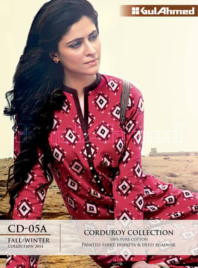 Gul Ahmed Corduory New Latest Fashion Winter-Autumn Cotton Girls Wear Dress-5