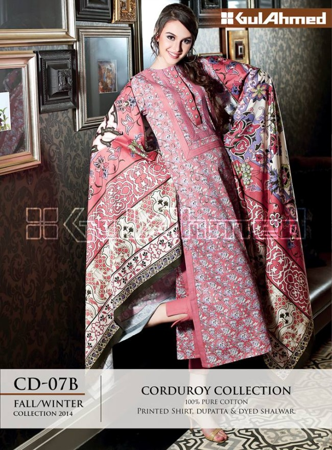 Gul Ahmed Corduory New Latest Fashion Winter-Autumn Cotton Girls Wear Dress-6