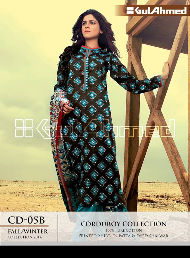 Gul Ahmed Corduory New Latest Fashion Winter-Autumn Cotton Girls Wear Dress-8