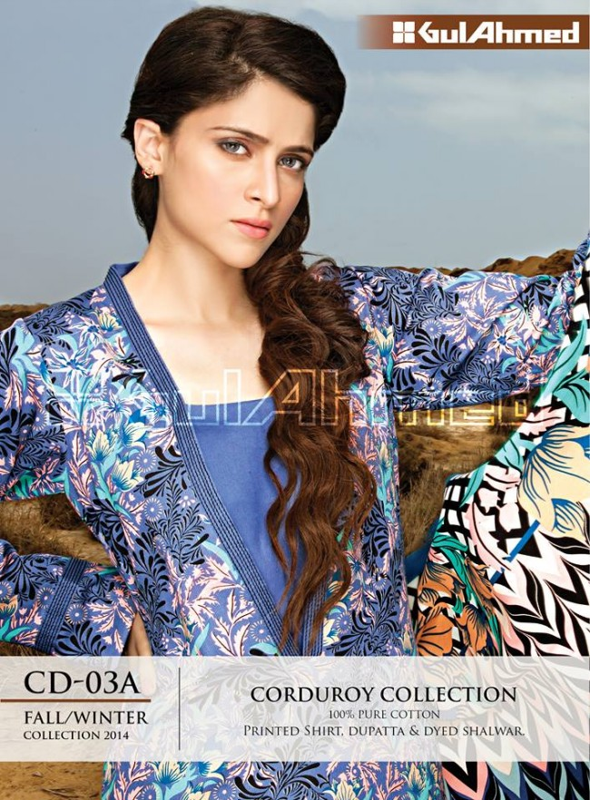 Gul Ahmed Corduory New Latest Fashion Winter-Autumn Cotton Girls Wear Dress-9