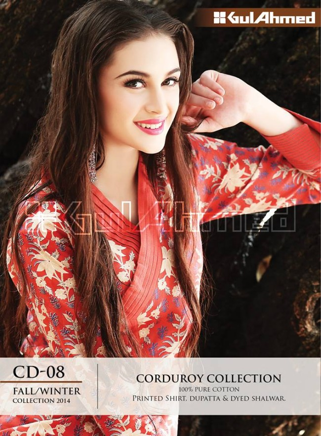 Gul Ahmed Corduory New Latest Fashion Winter-Autumn Cotton Girls Wear Dress-
