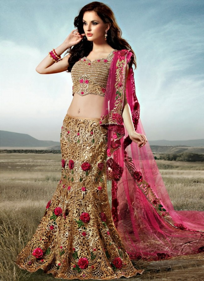 Stylish Embroidery Bridal-Wedding Lehanga-Choli Gown New Fashion Dress for Indian Brides-Dulhan-3