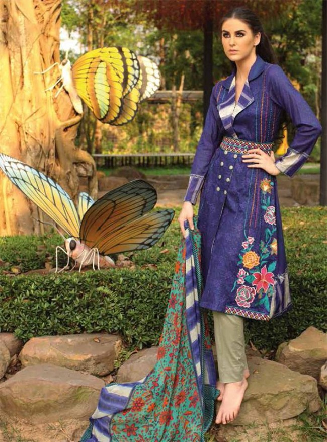 Fashion Dress Designer Libas Ladies Embroidered Wear Lawn Suits by Shariq Textiles-10