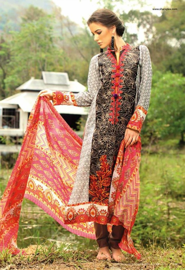 Fashion Dress Designer Libas Ladies Embroidered Wear Lawn Suits by Shariq Textiles-6