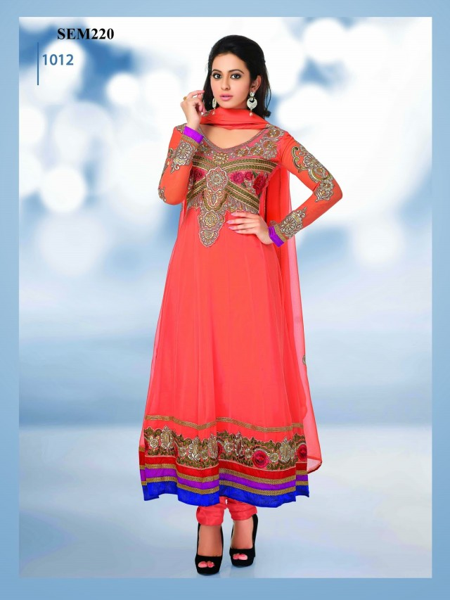 Indian-Bollywood Celebrity Actress-Model Rakul Preet Sing Long Anarkali Churidar Suit-1