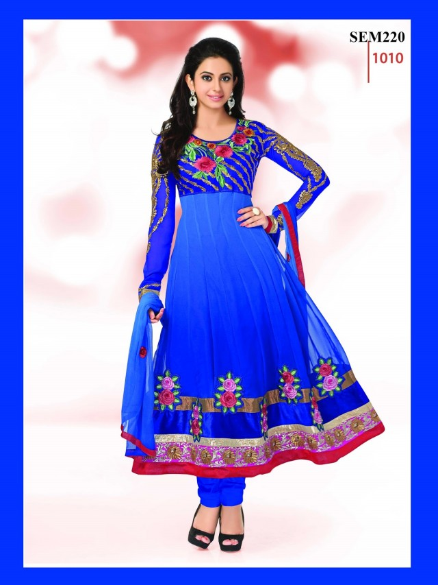 Indian-Bollywood Celebrity Actress-Model Rakul Preet Sing Long Anarkali Churidar Suit-4