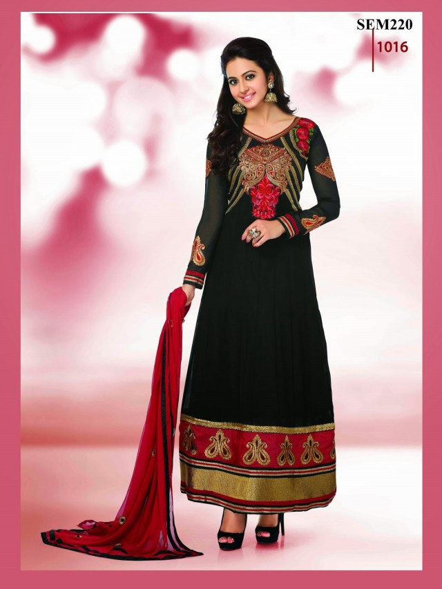 Indian-Bollywood Celebrity Actress-Model Rakul Preet Sing Long Anarkali Churidar Suit-8