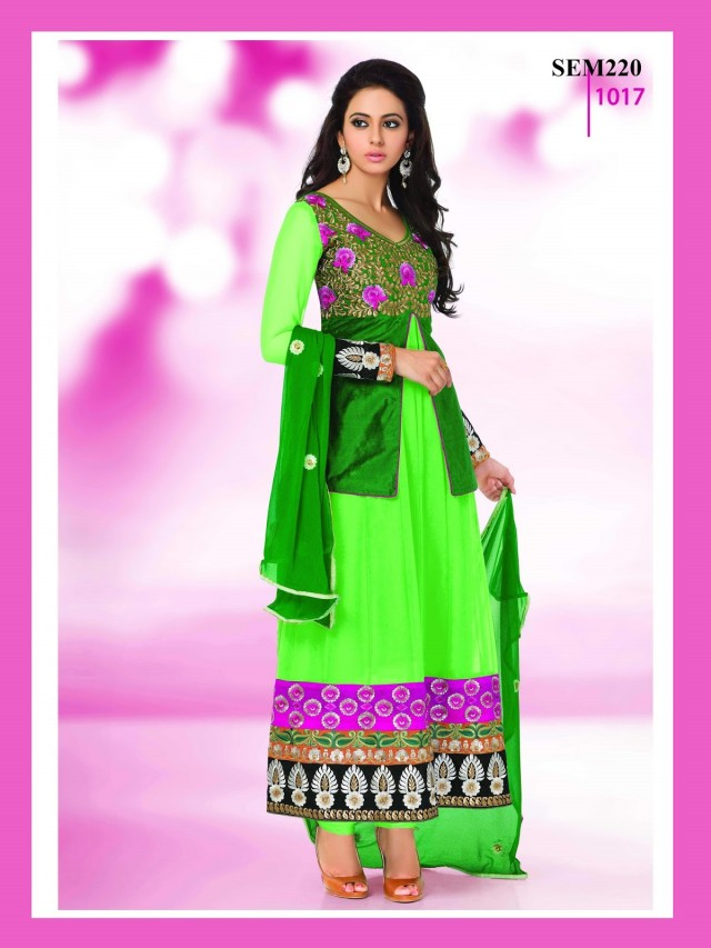 Indian-Bollywood Celebrity Actress-Model Rakul Preet Sing Long Anarkali Churidar Suit-9