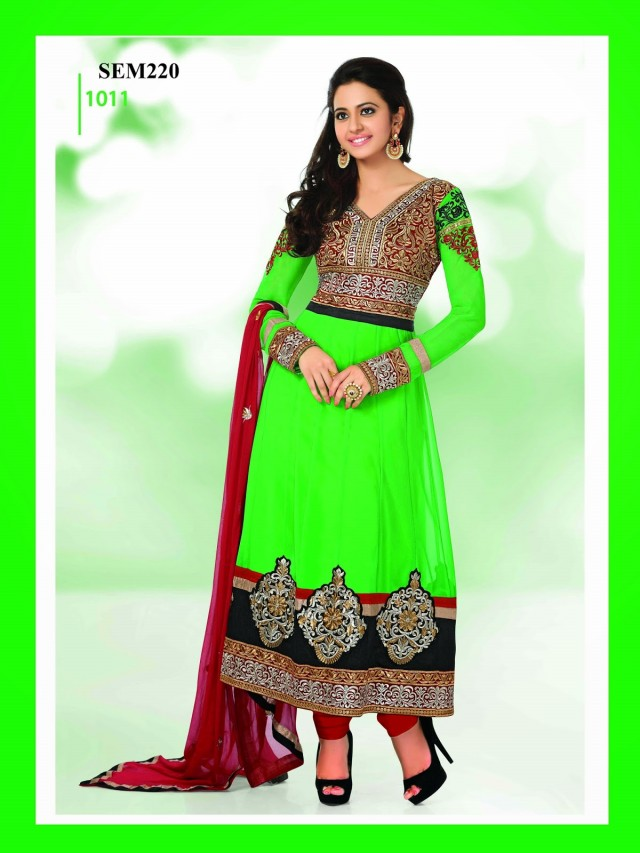 Indian-Bollywood Celebrity Actress-Model Rakul Preet Sing Long Anarkali Churidar Suit-