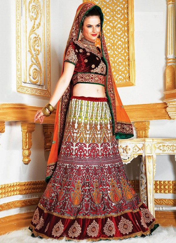 New Latest Velvet Design Indian-Pakistani Wedding-Bridal Lehanga-Choli-Sharara for Girls-5