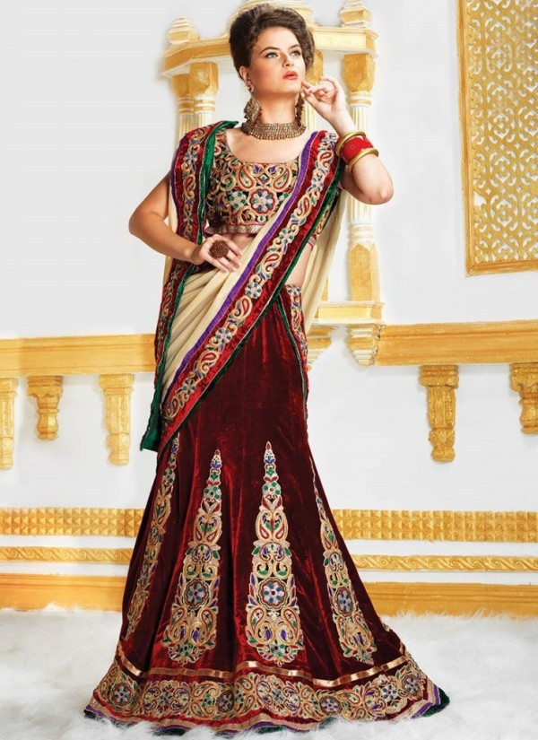 New Latest Velvet Design Indian-Pakistani Wedding-Bridal Lehanga-Choli-Sharara for Girls-6