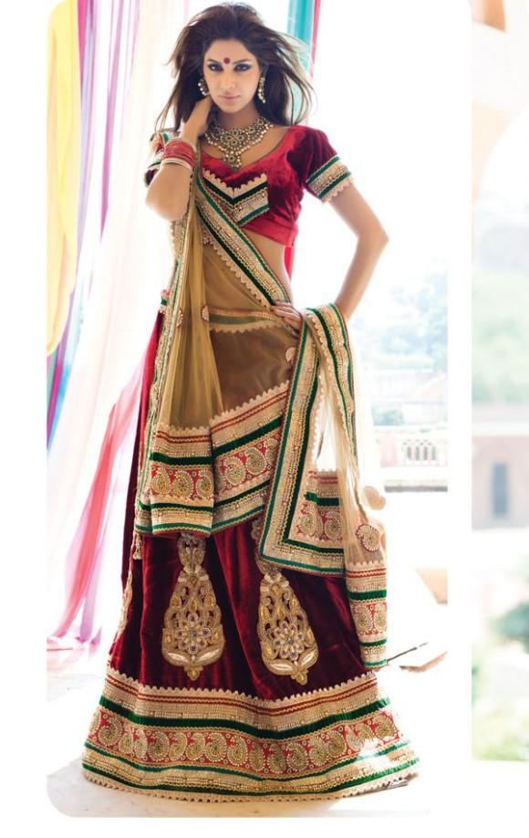 New Latest Velvet Design Indian-Pakistani Wedding-Bridal Lehanga-Choli-Sharara for Girls-8
