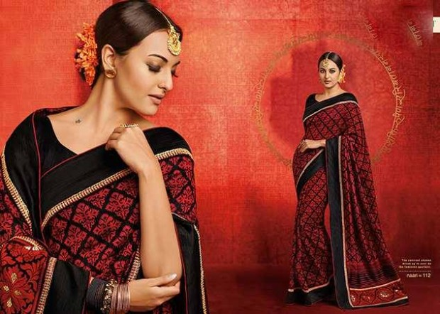 Bollywood-Indian Movies Actress-Model Sonakshi Sinha Wear Beautiful Colorful New Fashion Sarees-Sari-1
