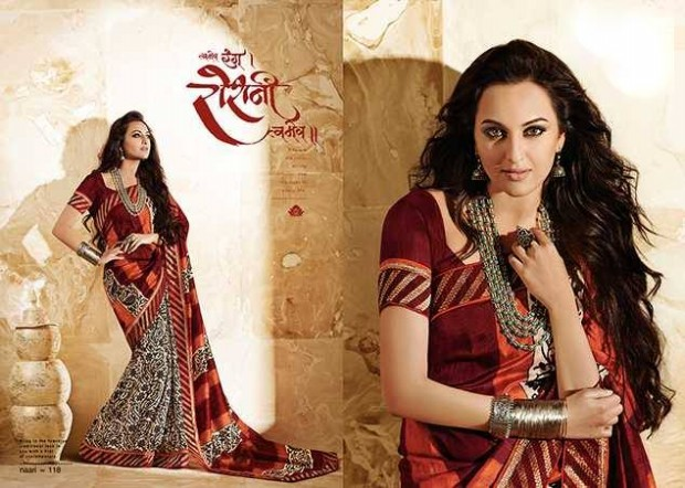 Bollywood-Indian Movies Actress-Model Sonakshi Sinha Wear Beautiful Colorful New Fashion Sarees-Sari-2