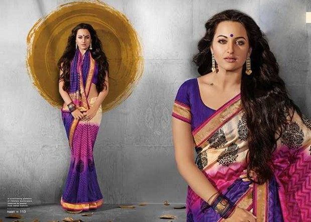 Bollywood-Indian Movies Actress-Model Sonakshi Sinha Wear Beautiful Colorful New Fashion Sarees-Sari-3