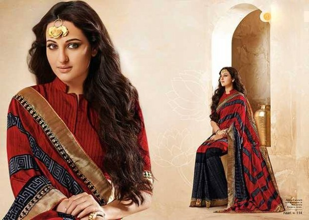 Bollywood-Indian Movies Actress-Model Sonakshi Sinha Wear Beautiful Colorful New Fashion Sarees-Sari-4