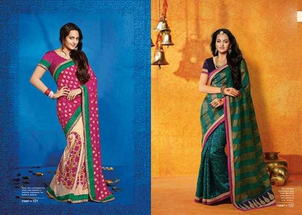 Bollywood-Indian Movies Actress-Model Sonakshi Sinha Wear Beautiful Colorful New Fashion Sarees-Sari-5